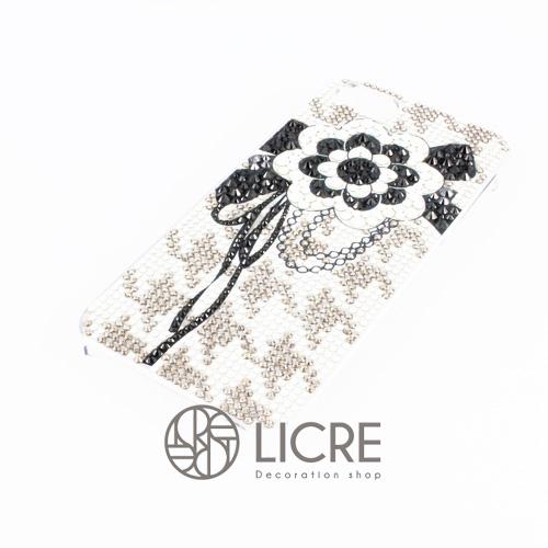 iphoneケースデコレーション - Lace flower001スワロフスキーデコ