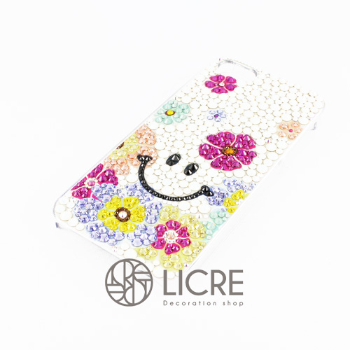 iphoneケースデコレーション - Smile flower002スワロフスキーデコ