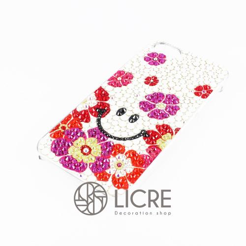 iphoneケースデコレーション - Smile flower003スワロフスキーデコ