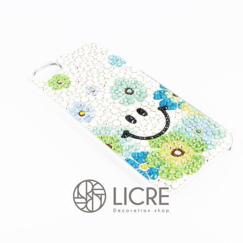 iphoneケースデコレーション - Smile flower004スワロフスキーデコ