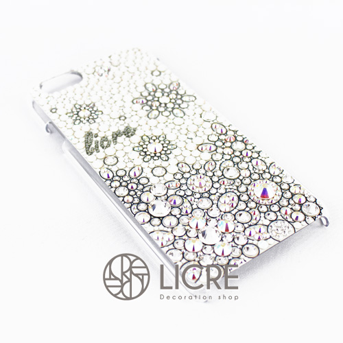 iphoneケースデコレーション - Snow flower002スワロフスキーデコ