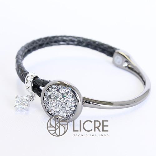 スワロフスキーブレスレット- pave leather bracelet BK-001CAL