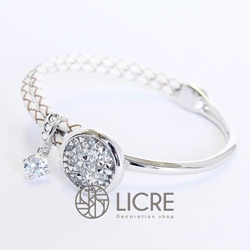 スワロフスキーブレスレット- pave leather bracelet WH-001CAL