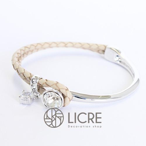 スワロフスキーブレスレット- round leather bracelet BE-001SSHA