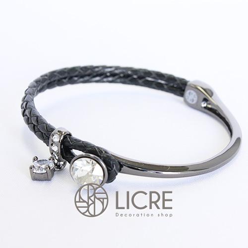 スワロフスキーブレスレット- round leather bracelet BK-001SSHA