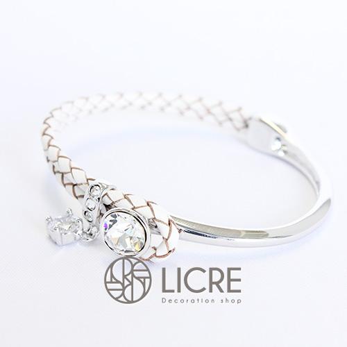 スワロフスキーブレスレット - round leather bracelet WH-001