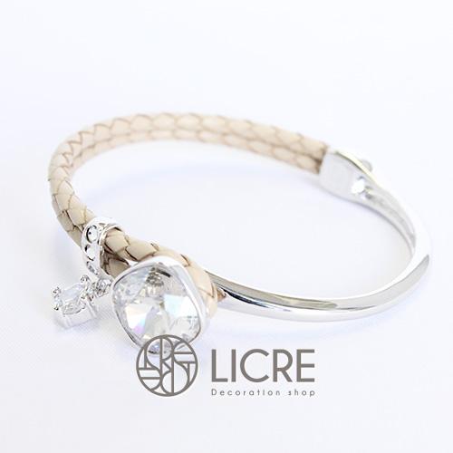 スワロフスキーブレスレット - square leather bracelet BE-001SSHA