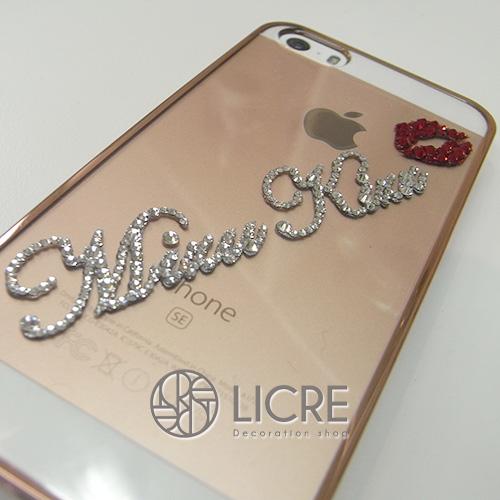 iphoneSEローズゴールドのケースに華奢で可愛いメッセージを・・・