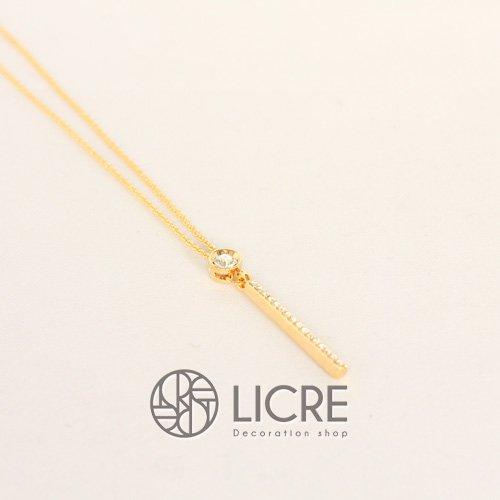 スワロフスキーネックレス - round straight necklace GO-001