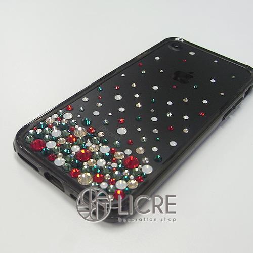 iphone7ジェットカラー本体にクリスマスカラーでドレスアップ