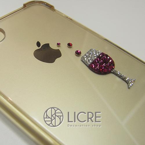 iphone7ハードケースに可愛いワイングラスのデコレーション