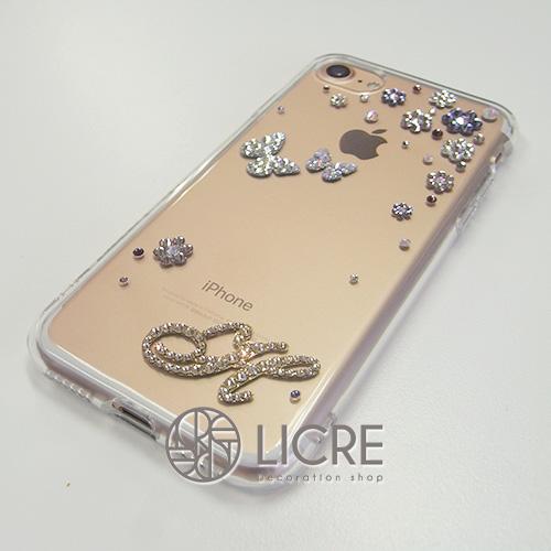 iphone7ゴールド本体にパープルのお花を配置した大人デコレーション