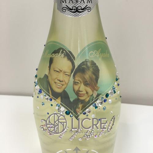 スパークリングワイン【マバム・グラシア】ボトルにクリアラベル写真とスワロフスキーデコレーション