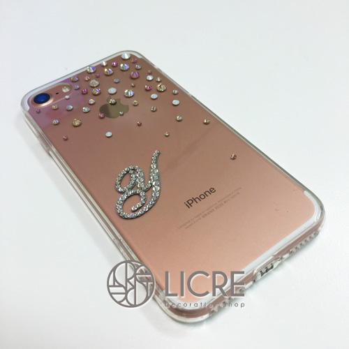 iphone7ローズゴールドカラーに合わせたスワロフスキーデコレーション