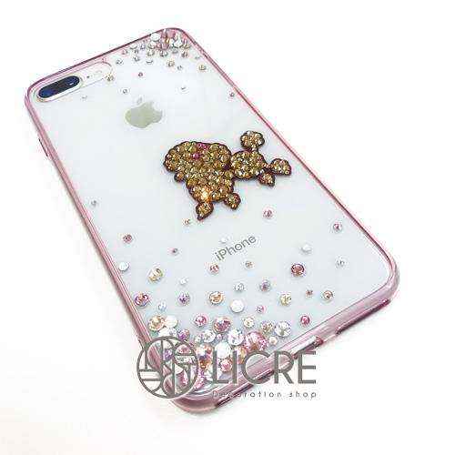 iphone8plusに愛犬トイプードルモチーフを取り入れたcuteなデコレーション