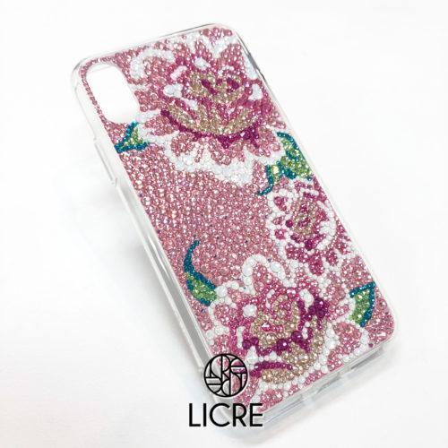 優しいピンクに包まれて咲き誇るピオニーが印象的なiphoneXフルデコレーションケース