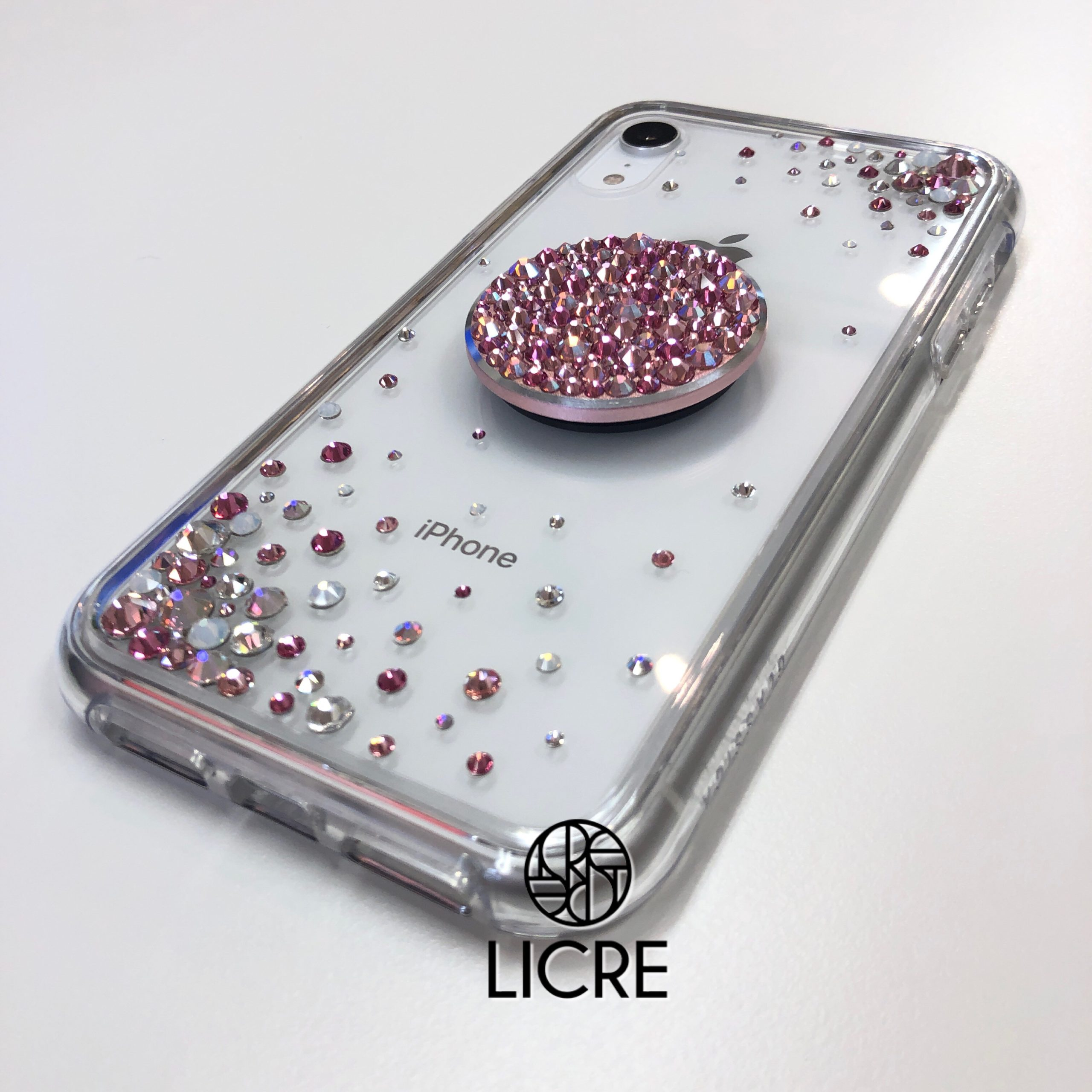 iPhoneXRクオーツハイブリッドケースにスワロフスキーデコレーション