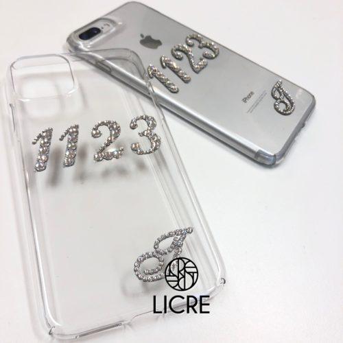 iphone11proクリアハードケースにナンバーデコレーション