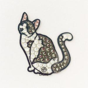 スワロフスキー®デコレーションステッカー[猫(スノーシュー)]