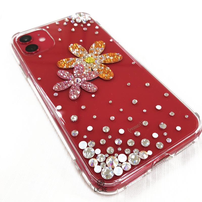 iphone11のレッドカラーにお花モチーフを取り入れた華やかなケースをご紹介します