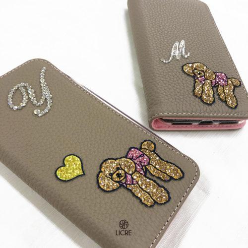 本革レザーiphoneケースに愛犬トイプードルのデコレーションステッカーをお揃いでコーディネート